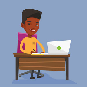 An african-american male student sitting at the table with laptop. Student using laptop for education. Student working on a laptop and writing notes. Vector flat design illustration. Square layout