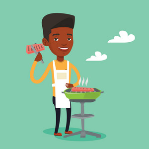 An african-american man cooking steak on the barbecue grill. Young smiling man preparing steak on the barbecue grill. Happy man having outdoor barbecue. Vector flat design illustration. Square layout.