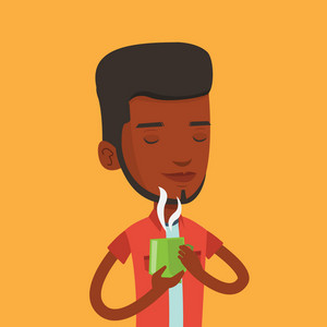 An african-american man drinking hot flavored coffee. Young smiling man holding cup of coffee with steam. Man with his eyes closed enjoying coffee. Vector flat design illustration. Square layout.