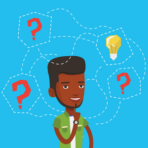An african-american man having business idea. Businessman standing with question marks and idea light bulb above his head. Business idea concept. Vector flat design illustration. Square layout.