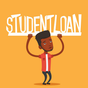 An african-american man holding a heavy sign of student loan. Tired man carrying heavy sign - student loan. Concept of the high cost of student loan. Vector flat design illustration. Square layout.