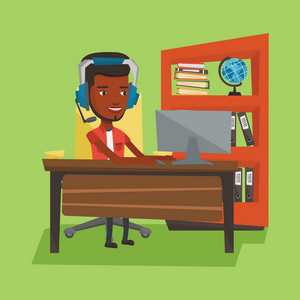 An african-american man playing computer games. Young happy man using computer for playing games. Cheerful man in headphones playing online games. Vector flat design illustration. Square layout.