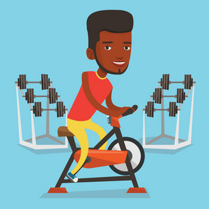 An african-american man riding stationary bicycle in the gym. Sporty man exercising on stationary training bicycle. Man training on stationary bicycle. Vector flat design illustration. Square layout.