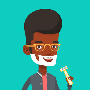 An african-american man shaving face. Man with shaving cream on face and razor in hand. Man prepping face for daily shaving. Concept of daily hygiene. Vector flat design illustration. Square layout.
