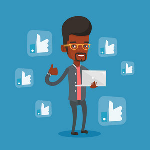 An african-american man showing thumb up and like social network buttons around her. Man with laptop and like social network buttons with thumb up. Vector flat design illustration. Square layout
