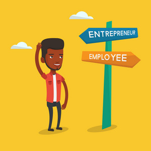 An african-american man standing at road sign with two career ways - entrepreneur and employee. Man choosing career way. Man making a decision of career. Vector flat design illustration. Square layout