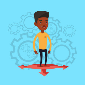 An african-american man standing on three alternative career ways. Young man choosing career way. Concept of career choices. Vector flat design illustration. Square layout.