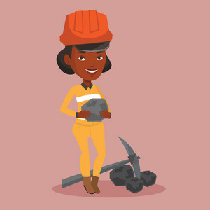 An african-american miner in hard hat holding coal in hands. Female miner with a pickaxe. Miner working at coal mine. Vector flat design illustration. Square layout.