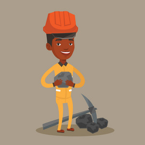 An african-american miner in hard hat holding coal in hands. Miner with a pickaxe. Miner working at coal mine. Vector flat design illustration. Square layout.