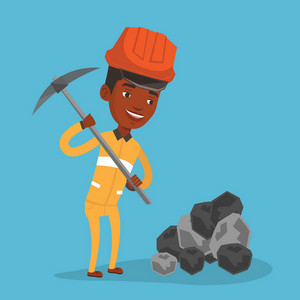 An african-american miner in hard hat working with a pickaxe. Miner working at the coal mine. Young miner in helmet at work. Vector flat design illustration. Square layout.
