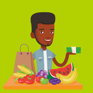 An african-american shopper standing at the table with grocery purchases. Young shopper holding money in hand in front of table with grocery purchases. Vector flat design illustration. Square layout.