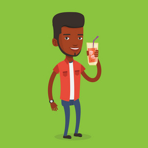 An african-american smiling man holding cocktail glass with drinking straw. Joyful man drinking a cocktail. Young happy man celebrating with a cocktail. Vector flat design illustration. Square layout.