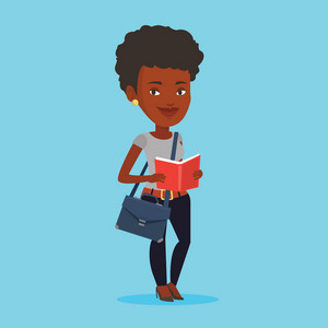 An african-american smiling student reading a book. Cheerful female student reading a book and preparing for exam. Student standing with book in hands. Vector flat design illustration. Square layout.