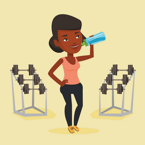 An african-american sporty woman drinking water. Woman standing with bottle of water in the gym. Smiling sportswoman drinking water from the bottle. Vector flat design illustration. Square layout.