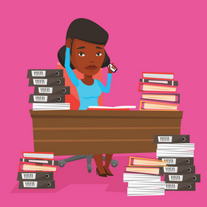 An african-american stressed office worker. Overworked woman feeling stress from work. Stressful employee sitting at workplace. Stress at work concept. Vector flat design illustration. Square layout.
