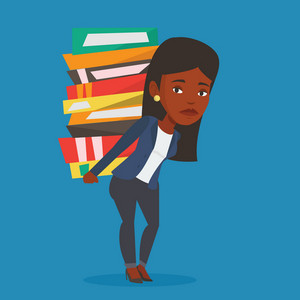 An african-american student carrying a heavy pile of books on her back. Student walking with huge stack of books. Student preparing for exam with books. Vector flat design illustration. Square layout.