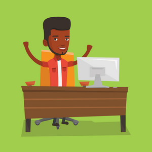 An african-american successful businessman celebrating at workplace. Successful businessman celebrating business success. Successful business concept. Vector flat design illustration. Square layout.