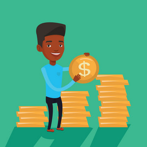 An african-american successful businessman with dollar golden coin in hands. Successful businessman holding golden coin. Business success concept. Vector flat design illustration. Square layout.