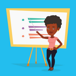 An african-american teacher standing in front of board with a pointer. Smiling teacher standing with a pointer in classroom. Young teacher with pointer. Vector flat design illustration. Square layout.