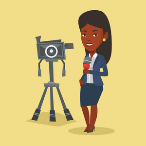 An african-american TV reporter with microphone standing on the background with camera. TV reporter presenting the news. TV transmission with reporter. Vector flat design illustration. Square layout.