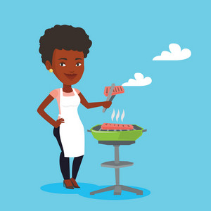An african-american woman cooking steak on the barbecue grill. Young smiling woman preparing steak on the barbecue grill. Woman having outdoor barbecue. Vector flat design illustration. Square layout.