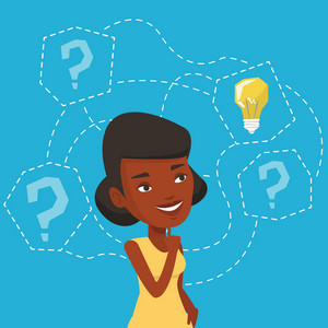 An african-american woman having business idea. Business woman standing with question marks and idea light bulb above her head. Business idea concept. Vector flat design illustration. Square layout.