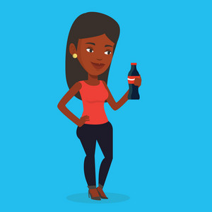 An african-american woman holding fresh soda beverage at glass bottle. Young woman standing with bottle of soda. Woman drinking brown soda from bottle. Vector flat design illustration. Square layout.