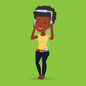 An african-american woman listening to music on her smartphone. Woman in headphones listening to music. Relaxed woman with eyes closed enjoying music. Vector flat design illustration. Square layout.