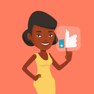 An african-american woman pressing social button with thumb up. Young happy woman pressing like button. Woman pressing social network like button. Vector flat design illustration. Square layout.