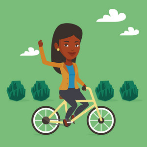 An african-american woman riding a bicycle in the park. Cyclist riding bicycle and waving hand. Woman on a bicycle outdoors. Healthy lifestyle concept. Vector flat design illustration. Square layout.