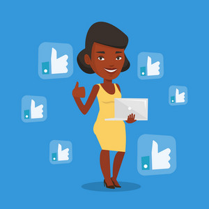 An african-american woman showing thumb up and like social network buttons around her. Woman with laptop and like social network buttons with thumb up. Vector flat design illustration. Square layout