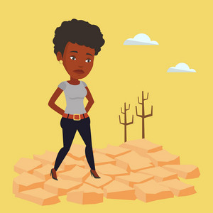An african-american woman standing in the desert. Frustrated woman standing on cracked earth in the desert. Concept of climate change and global warming. Vector flat design illustration. Square layout