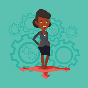 An african-american woman standing on three alternative career ways. Young woman choosing career way. Concept of career choices. Vector flat design illustration. Square layout.