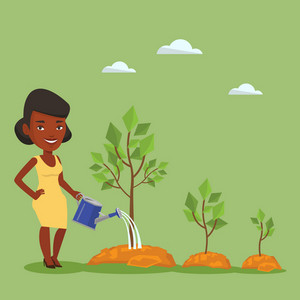 An african-american woman watering trees of three sizes. Young business woman watering plants with watering can. Business growth and investment concept. Vector flat design illustration. Square layout.
