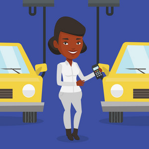 An african-american worker of car factory. Engineer at work on car factory. Worker controlling modern automated assembly line for cars. Car production. Vector flat design illustration. Square layout