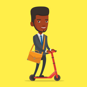 An african-american young business man riding a kick scooter. Business man with briefcase riding to work on kick scooter. Businessman on a kick scooter. Vector flat design illustration. Square layout.
