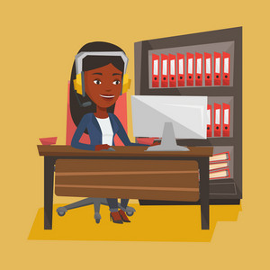 An african-american young happy woman using computer for playing games. Cheerful woman in headphones playing online games. Woman playing computer games. Vector flat design illustration. Square layout.
