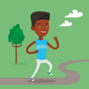An african-american young man running. Happy male sporty runner running outdoors. Smiling sportswoman running in the park. Healthy lifestyle concept. Vector flat design illustration. Square layout.