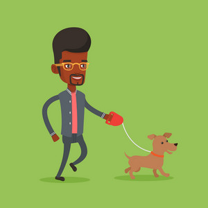An african-american young man with his pet. Happy man taking dog on walk. Man walking with his small dog. Smiling guy walking a dog on leash. Vector flat design illustration. Square layout.