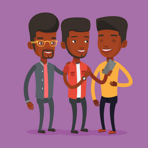 An african-american young smiling man showing something to friends on his mobile phone. Three happy friends looking at smartphone and laughing. Vector flat design illustration. Square layout.