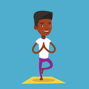 An african-american young sportsman standing in yoga tree pose. Sportsman meditating in yoga tree position. Sporty man doing yoga on the mat. Vector flat design illustration. Square layout.
