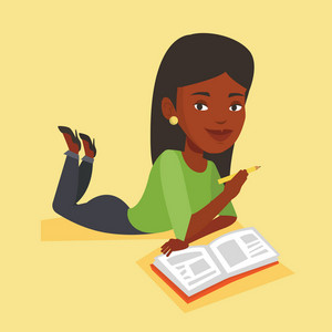 An african-american young student laying on the floor and reading a book. Student laying with notebook. Student writing while laying on the floor. Vector flat design illustration. Square layout.