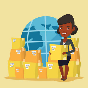 An african business woman holding box on the background of world map. Woman working in international delivery service. International delivery concept. Vector flat design illustration. Square layout.