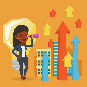 An african business woman looking through spyglass at arrows going up and idea bulb. Businesswoman looking for business idea. Business idea concept. Vector flat design illustration. Square layout.