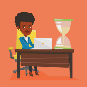 An african business woman sitting at the table with hourglass symbolizing deadline. Business woman coping with deadline successfully. Deadline concept. Vector flat design illustration. Square layout.