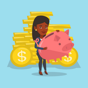 An african business woman with piggy bank and gold coins on background. Business woman holding a piggy bank. Business woman saving money in piggy bank. Vector flat design illustration. Square layout.
