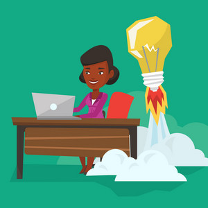 An african business woman working on laptop in office and idea bulb taking off behind her. Woman having business idea. Successful business idea concept. Vector flat design illustration. Square layout