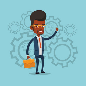 An african businessman pointing finger up because he came up with business idea. Businessman having business idea. Successful business idea concept. Vector flat design illustration. Square layout.