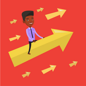 An african businessman sitting on arrow going to success. Successful businessman flying up on arrow. Concept of moving forward for business success. Vector flat design illustration. Square layout.