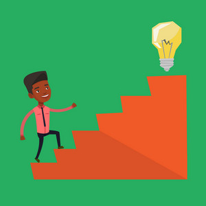 An african businessman walking upstairs to the idea light bulb. Businessman running on the stairs to get idea bulb on the top. Business idea concept. Vector flat design illustration. Square layout.